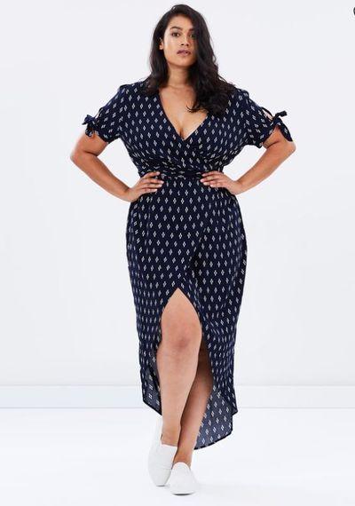 "<a href=""http://www.theiconic.com.au/novella-mock-wrap-dress-468317.html"" target=""_blank"">Novella Mock Wrap Dress By Atmos & Here Curvy, $69.95.</a>"
