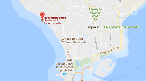 The Belgian-born man was killed while surfing at Batu Bolong Beach. (Google Maps)