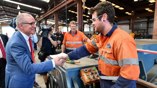 South Australian Premier Jay Weatherill tours the QPE Fabrication facility. (AAP)
