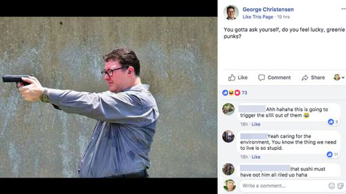'Do you feel lucky, greenie punks?': George Christensen photo reported to police by environment activist
