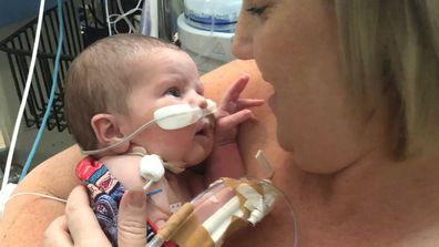 "Her mum wasn't able to cuddle her for the first nine days of her life, which she said was ""horrible."""