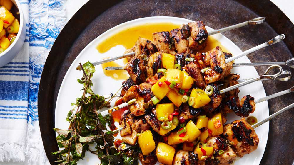 Portuguese chicken skewers with sauteed chilli mango