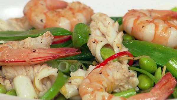 Seafood & edamame stir-fry