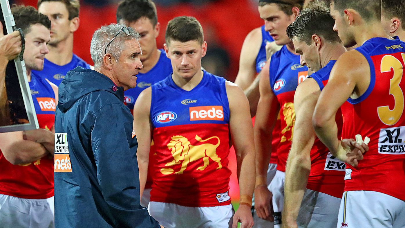 The Lions react to the loss after the round 10 AFL match against the Richmond Tigers