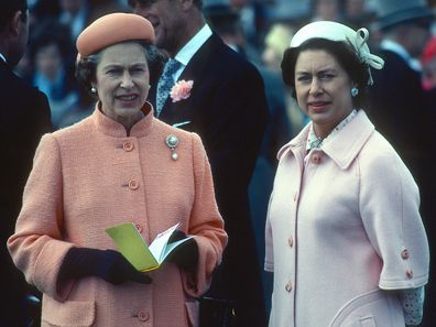 Queen Elizabeth ll and her sister Princess Margaret attend the Epsom Derby on June 06, 1979 in Epsom,  England