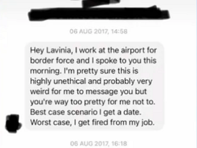 Sydney model asked out by airport worker.