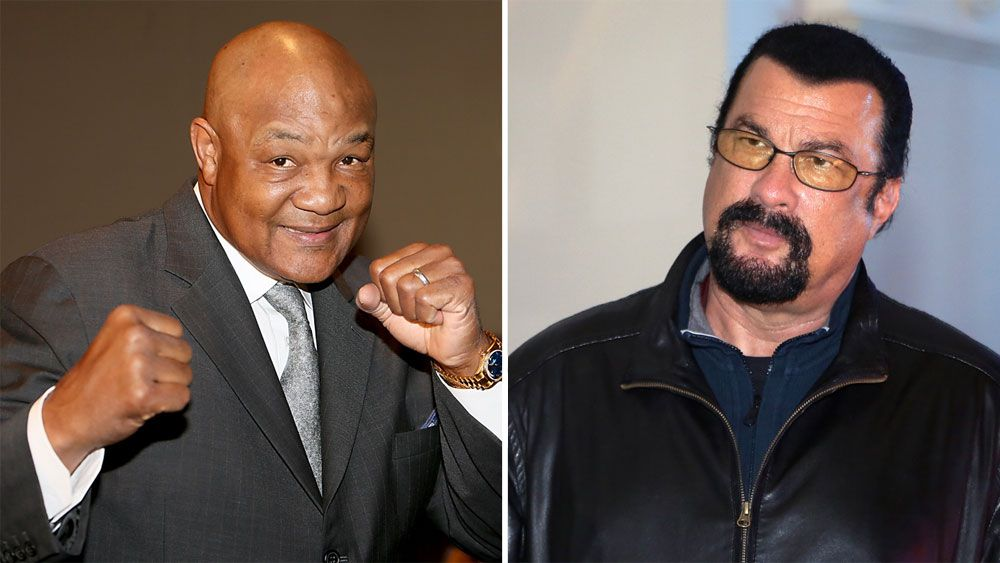 Former heavyweight boxing champion George Foreman challenges Hollywood martial arts star Steven Seagal to fight