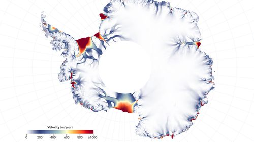 An illustration issued by NASA shows a map of ice velocity and elevation that has revealed a group of glaciers covering one-eighth of the East Antarctic coast have been losing ice for a decade.