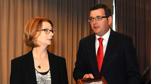 Former PM Julia Gillard joins Victorian Labor's Daniel Andrews at fundraiser