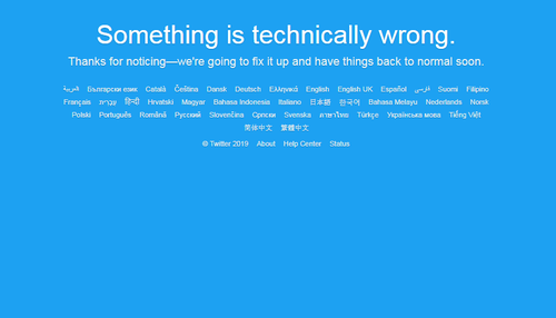 Twitter experiencing worldwide outage.