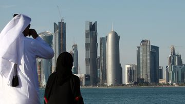 High-rise office buildings and hotels in Doha, Qatar.