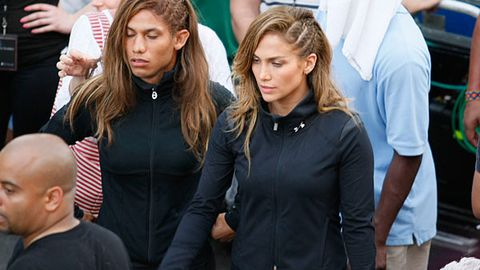Jennifer Lopez and her male stunt double