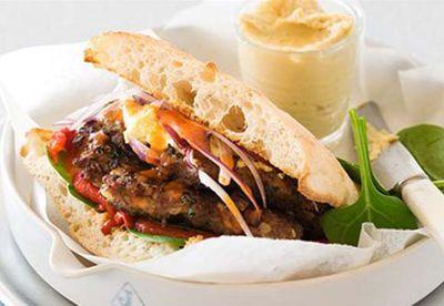 Minced lamb spiced lamb burger