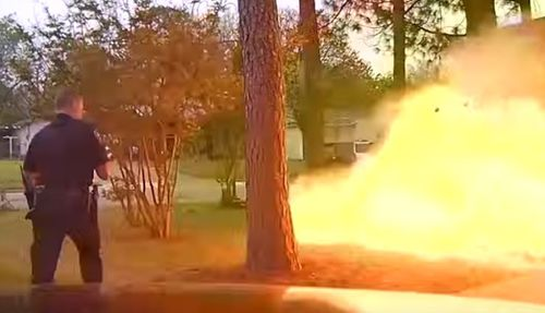 The ruptured gas line caused fumes to build up in the home before erupting in a giant explosion that sent debris flying.
