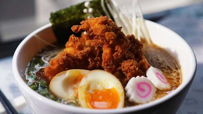 """Recipe:<strong> <a href=""""http://kitchen.nine.com.au/2017/07/05/11/19/butters-fried-chicken-ramen"""" target=""""_top"""">Butter's ultimate chicken ramen topped with extra fried chicken</a></strong>"""