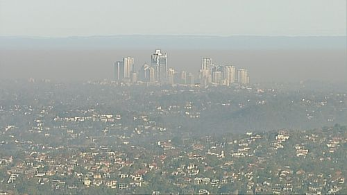 The haze extended across large parts of Sydney. Picture: 9News