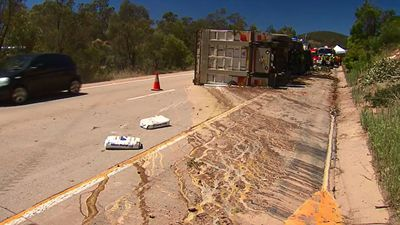 Yolk covers highway after truck carrying 3000 eggs overturns