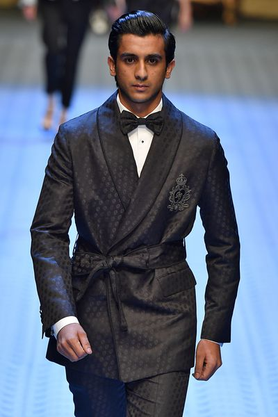 HRH the Maharaja Sawai Padmanabh Singh of jaipurwalks the runway at the Dolce & Gabbana show during Milan Men's Fashion Week Spring/Summer 2019 on June 16, 2018.