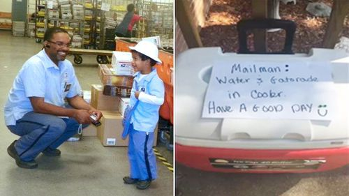Mailman Henry Bailey and eight-year-old Carmine McDaniel; the esky left on the family's porch. (Facebook/Terra McDaniel)