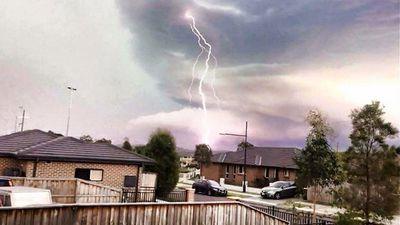 Lightning strike in Minto, in Sydney's south-west. (Zachary Egan)