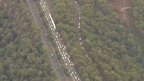 Cars were lined up for at least 12km after the smash. Picture: 9NEWS