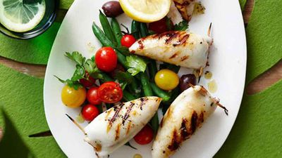 """Seafood on the grill is quintessentially Australia - try our<a href=""""http://kitchen.nine.com.au/2016/05/16/12/57/barbecued-stuffed-calamari"""" target=""""_top"""">Barbecued stuffed calamari</a>recipe"""