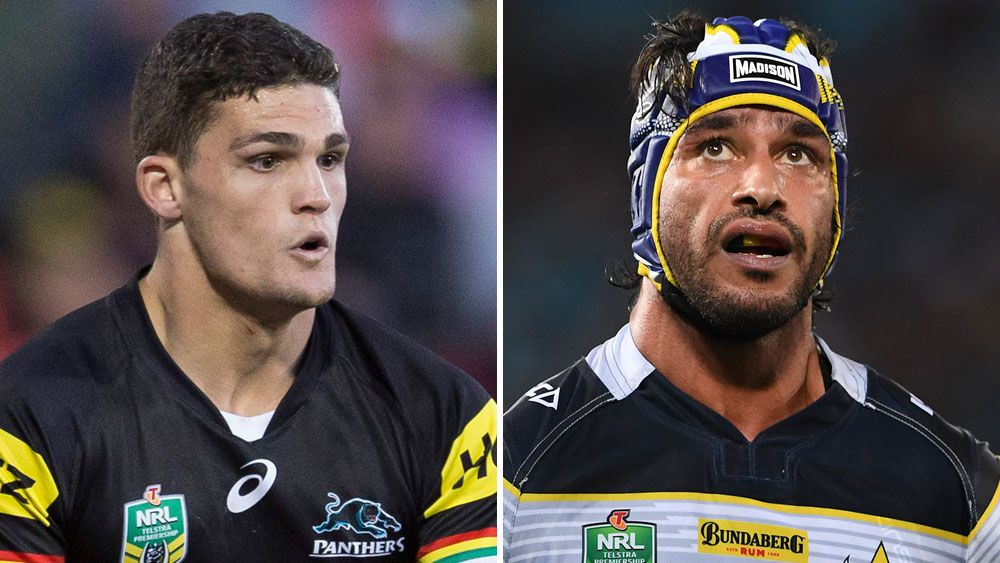 Nathan Cleary and Johnathan Thurston. (AAP)
