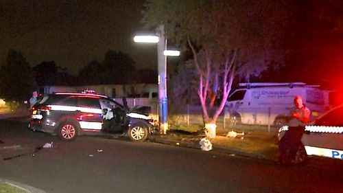 Three police officers were injured in a chase that started at 11.40pm last night in Sydney's south west.