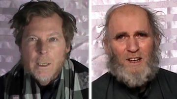 Australian teacher Timothy Weeks, 48, and colleague Kevin King, 60, were snatched by militants last year. (Photos: AP).