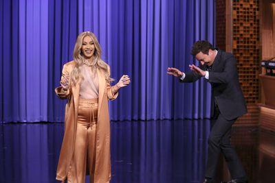 Cardi B on the Tonight Show with host Jimmy Fallon in New York on April 9, 2018
