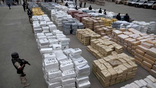 An enormous stack of marijuana bundles captured by police in Tijuana, Mexico. (AAP)