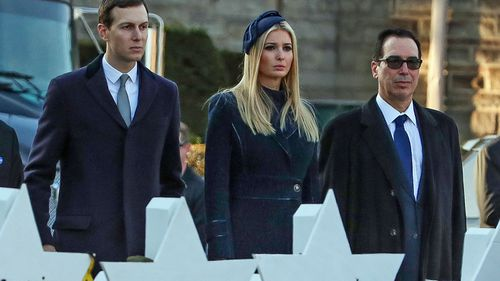 Jared Kushner (left), Ivanka Trump (centre) and Treasury Secretary Steven Mnuchin (right) visit Tree of Life Synagogue in Pittsburgh.