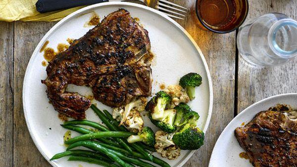 American-style barbecued T-bone steak