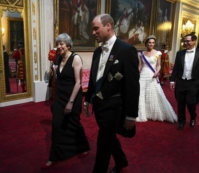 Theresa May with the Duke and Duchess of Cambridge and United States Secretary of the Treasury, Steven Mnuchin, arrive ahead of the State Banquet at Buckingham Palace.