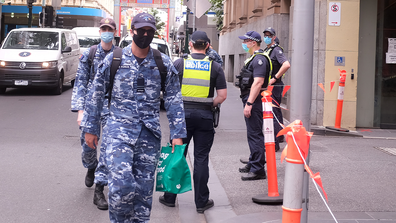 Australian Defence Force (ADF) personnel are seen arriving at the Pullman Hotel on February 11, 2021 in Melbourne, Australia.