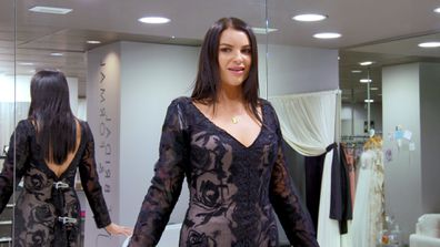 Tash tries on a black wedding dress while shopping for the perfect dress for her MAFS 2020 wedding.