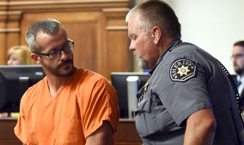 Christopher Watts who was arrested on suspicion of killing his wife and children during his court appearance. (AP)