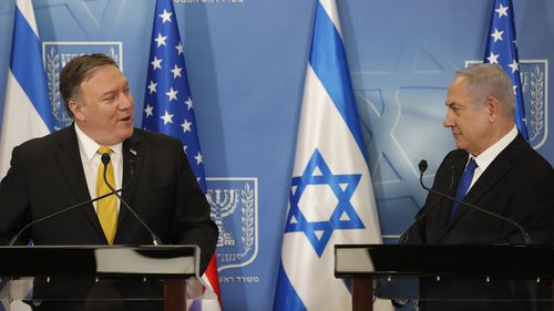 US Secretary of State Mike Pompeo (left) and Israeli Prime Minister Benjamin Netanyahu. (AAP)