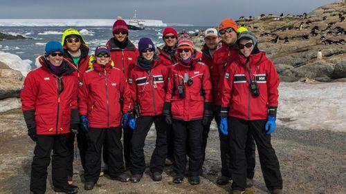 Danger Islands Expedition team members on Heroina Island. (Stony Brook University, Courtesy Alex Borowicz.)