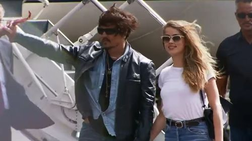 Depp and Heard arrived in Queensland for Pirates of  the Caribbean filming. (9NEWS)