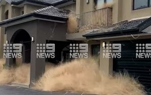 Melbourne housing estate engulfed by tumbleweeds
