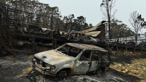 The remains of a car yard in the industrial estate at Batemans Bay.