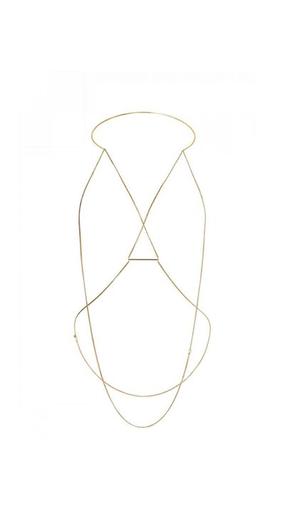 "<p>A delicate body chain transforms a plain black tank.</p><a href=""https://www.sassandbide.com/int/products/longings-look-gold"" target=""_blank"">Body chain, $320, Sass &amp; Bide</a>"