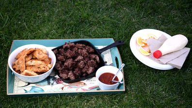 Home cooked food made by New Zealand Labour Party leader Jacinda Ardern's partner Clarke Gayford for the media waiting outside their house on October 17, 2020 in Auckland, New Zealand