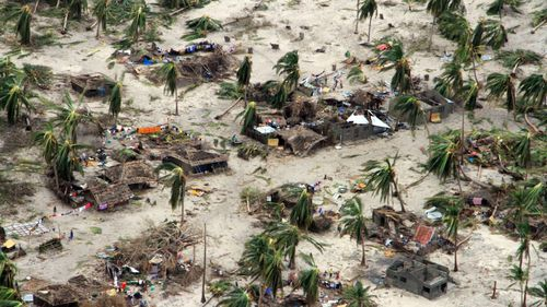 Badly damaged communities are seen from an aerial view in Macomia district of Mozambique.
