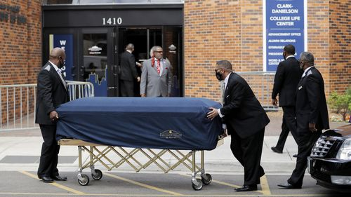 The body of George Floyd arrives before his memorial services on Thursday, June 4, 2020 in Minneapolis