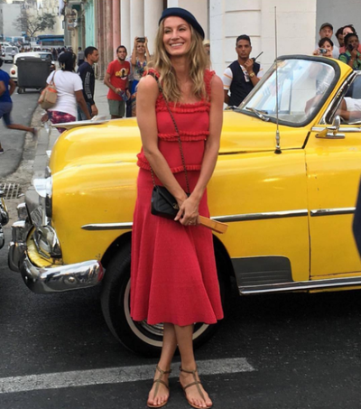 Supermodel Gisele Bundchen arriving at the Chanel Cruise show.