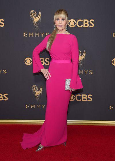 "Actress Jane Fonda inBrandon Maxwell at the2017 Emmy Awards, September, 2017<br style=""box-sizing: inherit;"">"