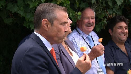 Government representatives publicly ate rockmelon in support of WA farmers. (9NEWS)