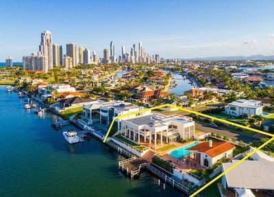 """<strong><a href=""""http://www.realestate.com.au/property-house-qld-paradise+waters-124619194"""" target=""""_blank"""">79-81 Commodore Drive Paradise Waters</a><br /> Expressions of interest under $10m</strong>"""